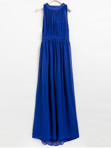 New Elegant Halter Solid Color Hollow Out Dress For Women BLUE S