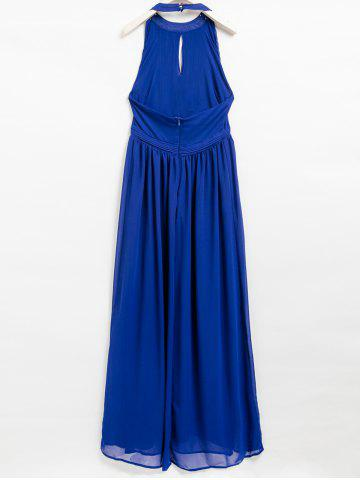 Trendy Pleated Halter Hollow Out Backless Maxi Dress - S BLUE Mobile