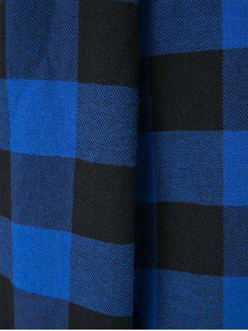 Outfit Asymmetric Long Sleeve Flannel Plaid Shirt Dress - S BLUE AND BLACK Mobile