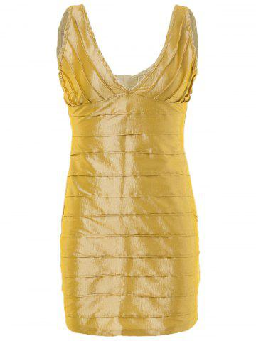 Plunging Neck Backless Sleeveless Golden Bodycon Dress