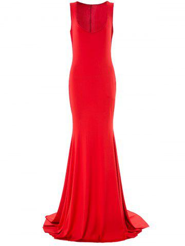 Unique Sexy Plunging Neck Mermaid Formal Prom Dress