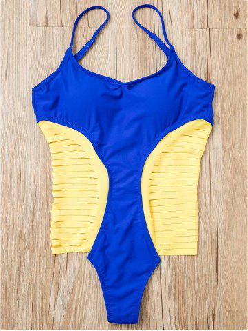 Fancy Chic Spaghetti Strap Strappy Hollow Out One-Piece Swimsuit For Women BLUE L