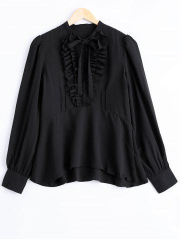 Store Elegant V-Neck Flounce Lace Up Long Sleeves Blouse For Women