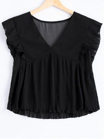 Buy Fashionable Plunging Neck Fold Flounce Tank Top For Women