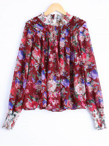 Online Fashionable Floral Print Long Sleeves Blouse For Women