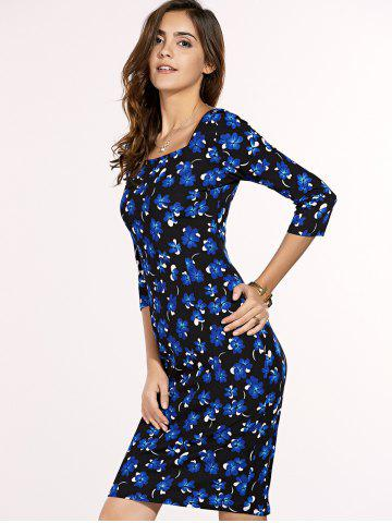 Buy Chic Women's Square Neck 3/4 Sleeve Blue Flower Print Dress - XL BLUE AND BLACK Mobile