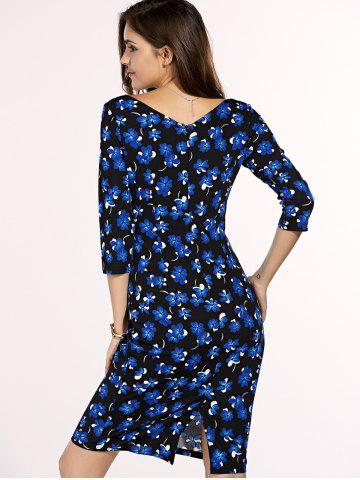 Best Chic Women's Square Neck 3/4 Sleeve Blue Flower Print Dress - XL BLUE AND BLACK Mobile
