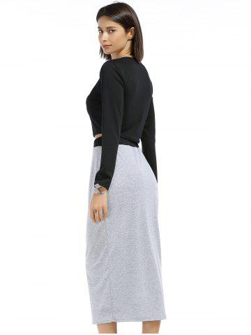 Latest Chic Round Neck Long Sleeve Plain Crop Top + Spliced Skirt Women's Twinset - S BLACK AND GREY Mobile