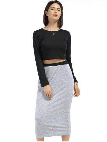 Sale Chic Round Neck Long Sleeve Plain Crop Top + Spliced Skirt Women's Twinset - S BLACK AND GREY Mobile