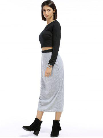 Online Chic Round Neck Long Sleeve Plain Crop Top + Spliced Skirt Women's Twinset - S BLACK AND GREY Mobile