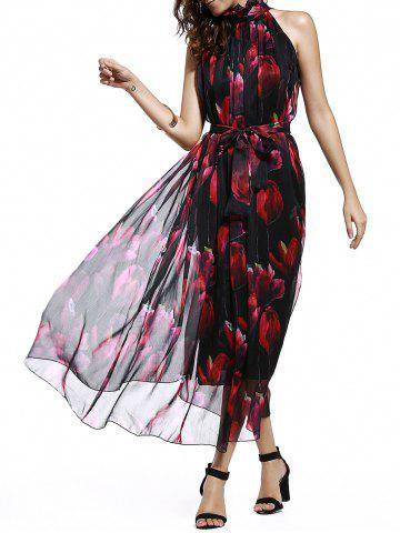 Fancy Sweet Stand Collar Sleeveless Floral Print Tied Chiffon Dress For Women
