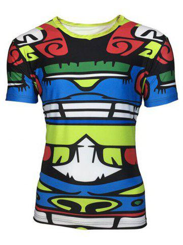 Shops Round Neck 3D Totem Color Block Printed Short Sleeve T-Shirt For Men