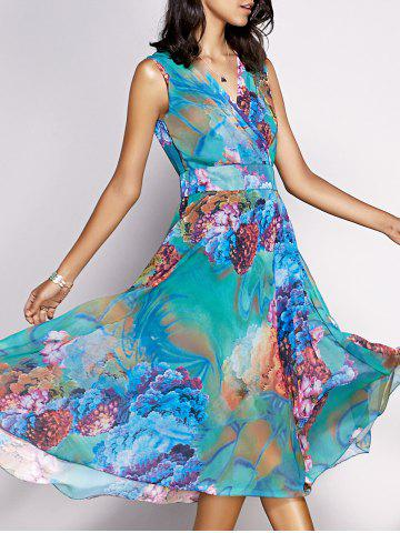 Online Bohemian Floral Sleeveless Chiffon Tea Length Dress
