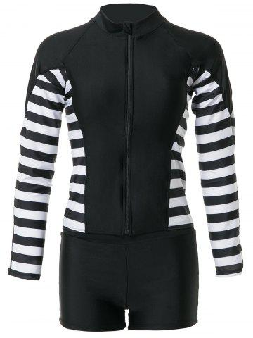 Cheap Stylish Round Neck Long Sleeve Striped Two-Piece Swimsuit For Women - XL BLACK Mobile