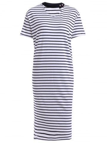 Discount Stylish V-Neck Short Sleeve Loose-Fitting Striped Women's Dress