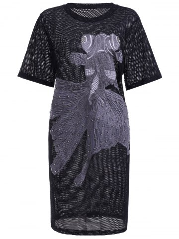 Discount Stylish Short Sleeve Embroidered Fish Pattern Hollow Out Women's Dress