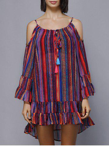 Latest Cold Shoulder Colorful Striped Flouncing Lace-Up Dress