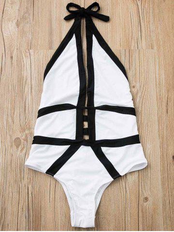Fashion Halter Hit Color High Cut One Piece Swimwear WHITE M