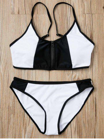 Chic Chic Black and White Spliced Zip Up Bra and Briefs Bikini Set For Women