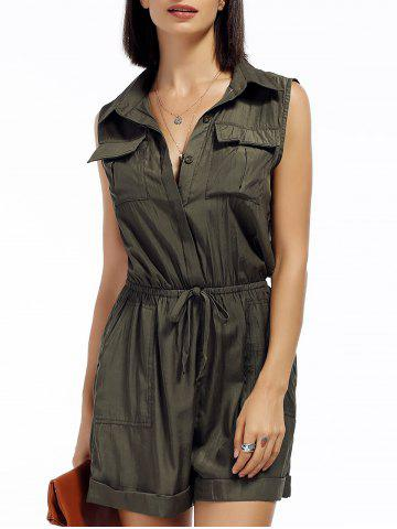 Discount Sleeveless Drawstring Front Pockets Romper