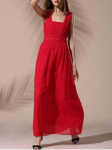 Store Fashionable Sleeveless High-Waisted Solid Color Chiffon Women's Dress