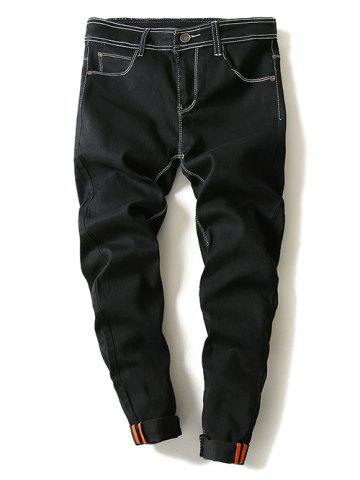 Fancy Contrast Suture Narrow Feet Denim Pants BLACK 36