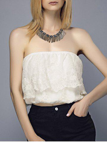 Trendy Embroidered Flounce Tube Top