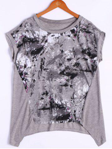 Store Loose-Fitting Printing Round Neck Cap Sleeve Top For Women