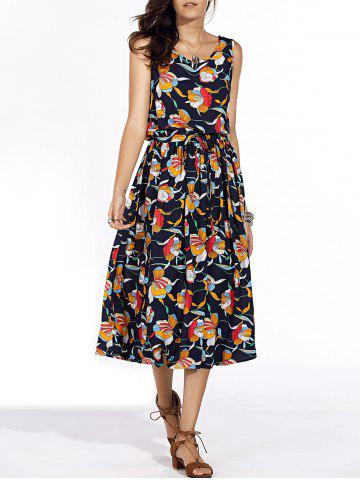 Buy Stylish Scoop Neck Floral Print Sleeveless Tie Waist Dress For Women