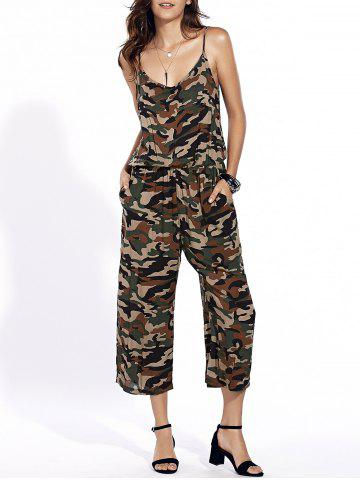 Chic Stylish Spaghetti Strap Camo Print Jumpsuit For Women