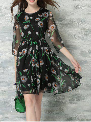 Fashion Elegant 3/4 Sleeves Mesh Floral Print Chiffon Dress For Women