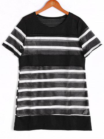 Online Fashionable Short Sleeve Stripe Round Neck Top For Women