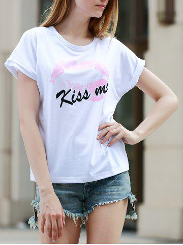 Outfits Simple Style Kiss Me Letter Print Short Sleeve Women's T-Shirt