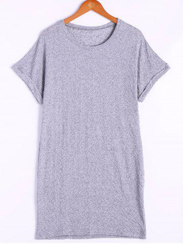 Online Loose-Fitting Round Neck Cap Sleeves  Shirt Dress For Women