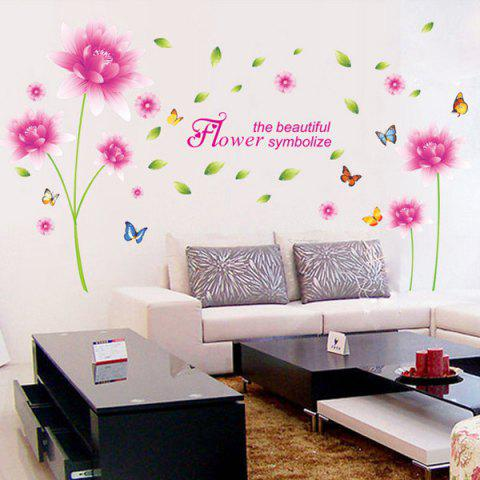 Outfit Fashion Home Decor Pink Lotus Flower Pattern Removable DIY Wall Sticker PINK / GREEN