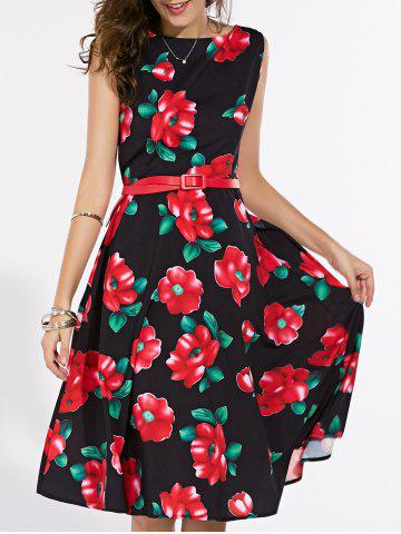 Shop Retro Boat Neck Sleeveless Floral Print Dress For Women