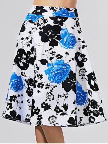 Fancy Flower Print A Line Knee-Length Skirt