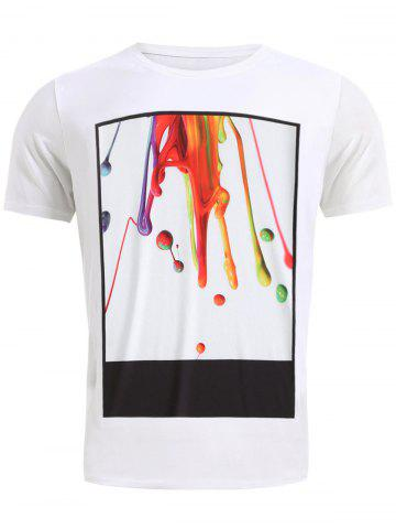 Sale Round Neck Stylish 3D Coloful Pigment Print Short Sleeve T-Shirt For Men - M WHITE Mobile