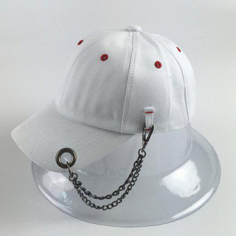 Unique Trendy Circle Hoop Inlay and Chains Embellished Hip Hop Baseball Cap - WHITE  Mobile