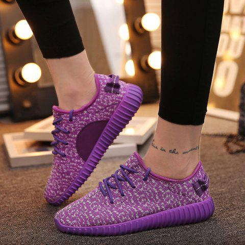Outfit Leisure Lace-Up and Mesh Design Sneakers For Women - 38 PURPLE Mobile