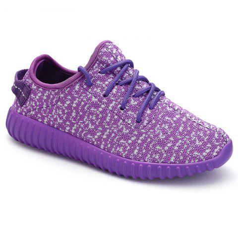 Leisure Lace-Up and Mesh Design Sneakers For Women - Purple - 38