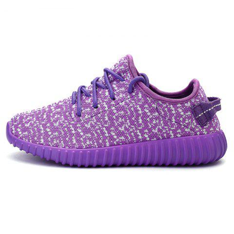Trendy Leisure Lace-Up and Mesh Design Sneakers For Women - 38 PURPLE Mobile