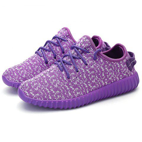 New Leisure Lace-Up and Mesh Design Sneakers For Women - 38 PURPLE Mobile
