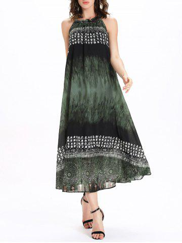 Outfits Frilled Jewel Neck Printed Tie Belt Dress GREEN XL