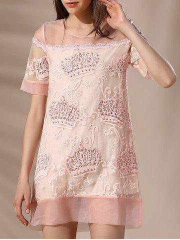 Hot Trendy Round Neck Voile Spliced Embroidery Beaded Women's Dress