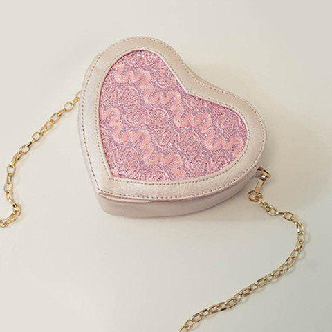 Trendy Sweet Heart Shape and Lace Design Crossbody Bag For Women - LIGHT PINK  Mobile