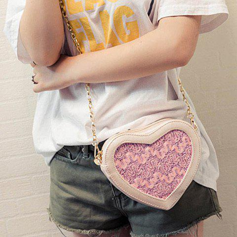 Fancy Sweet Heart Shape and Lace Design Crossbody Bag For Women - LIGHT PINK  Mobile