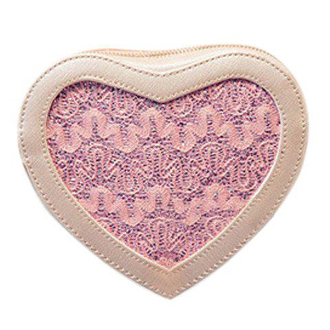 Outfits Sweet Heart Shape and Lace Design Crossbody Bag For Women LIGHT PINK