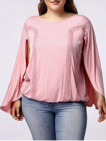 Latest Stylish Women's Scoop Neck Bat Sleeves Backside Hollow Out Blouse LIGHT PINK 3XL