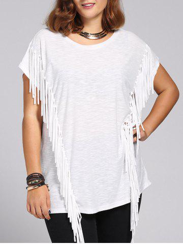 Buy Stylish Women's Short Sleeves Jewel Neck Fringed T-Shirt WHITE 3XL